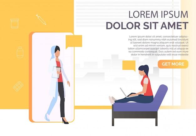 Mujer usando laptop y doctora en smartphone