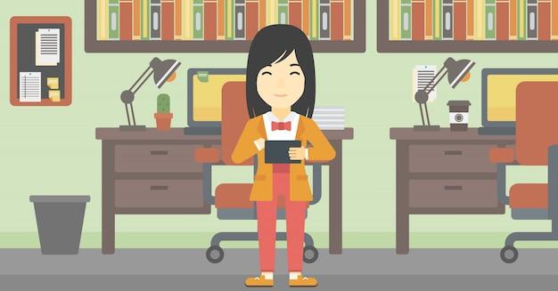 Mujer, utilizar, tableta, computadora