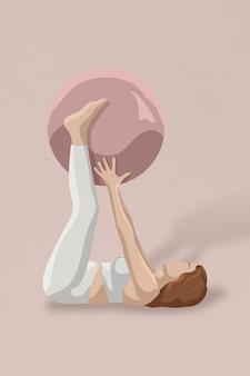 Mujer de vector de rutina de ejercicio sosteniendo ilustración mínima de pelota de fitness