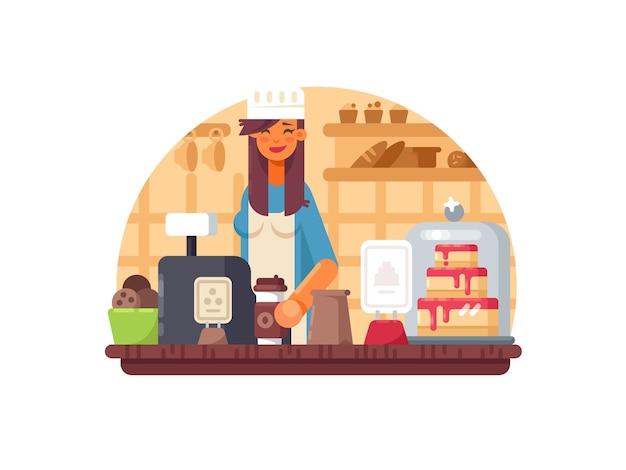 Mujer de vendedor de panadero se encuentra en cajero en panadería. ilustración vectorial