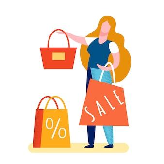 Mujer vendiendo bolso ilustración