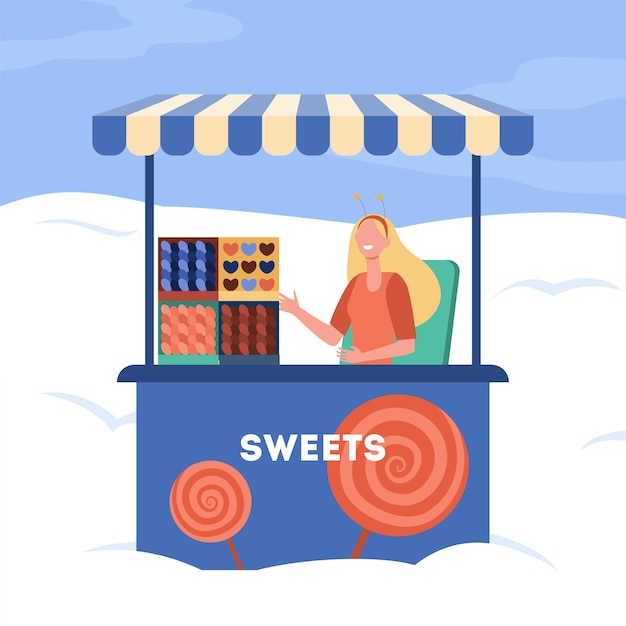 Mujer vendiendo dulces de puesto. carrito, quiosco, caramelos, piruletas. ilustración de dibujos animados