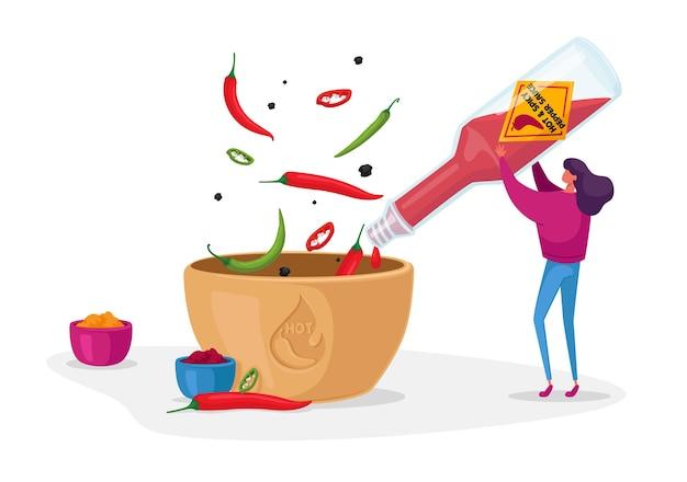 Mujer vertiendo salsa de tomate o salsa de chile de la botella de vidrio al tazón de fuente para cocinar comida picante