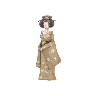 Mujer vestida con kimono. ilustración de color de eclosión de vector vintage