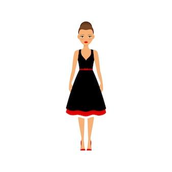 Mujer en vestido negro y rojo