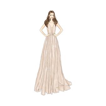 Mujer, en, vestido de noche