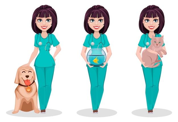 Mujer veterinaria, conjunto de tres poses.