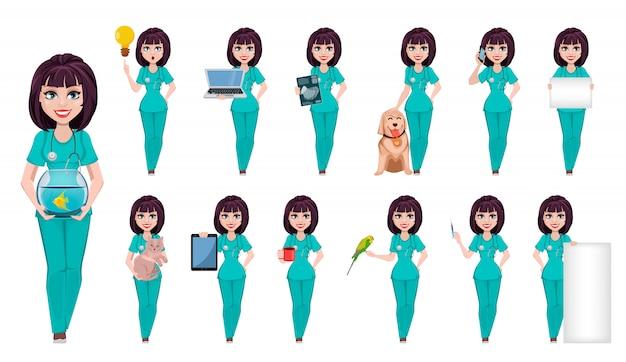 Mujer veterinaria, personaje de dibujos animados lindo