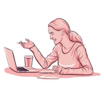 Mujer en videollamada de conferencia con auriculares y taza de café
