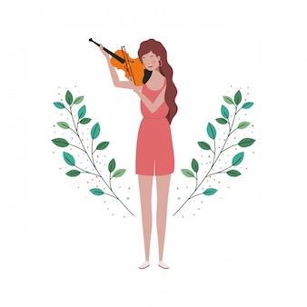 Mujer con violín y ramas y hojas