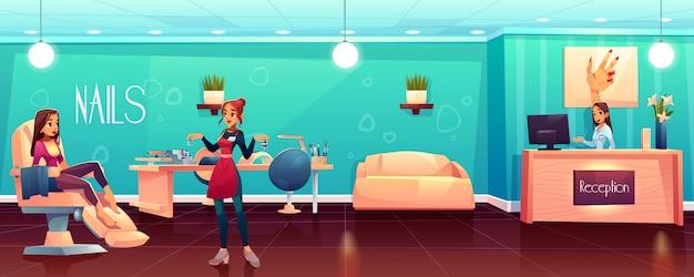 Mujer visitando salón de uñas cartoon
