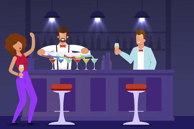 Mujer visitante, barman y camarero en barra de bar