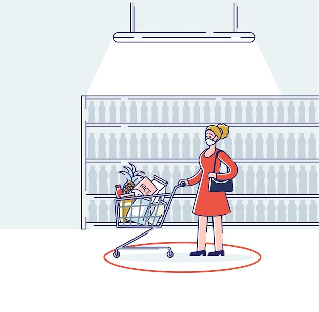 Mujer vistiendo máscara médica mientras compra en el supermercado
