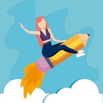 Mujer volando en lanzacohetes con lápiz