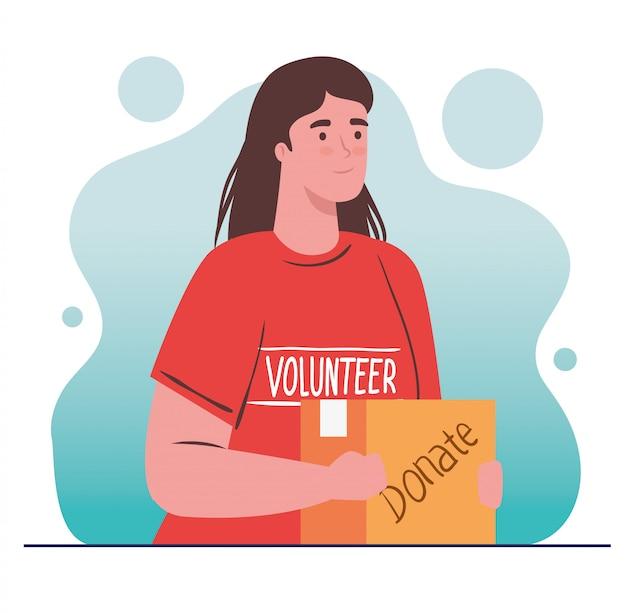 Mujer voluntaria con caja de donación, concepto de donación de caridad y asistencia social