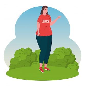 Mujer voluntaria con camisa roja, caridad y concepto de donación de asistencia social