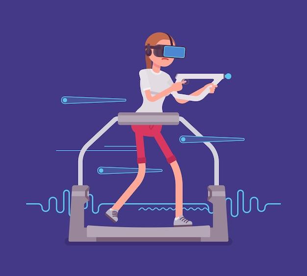 Mujer vr con controlador de puntería en cinta de correr para juegos