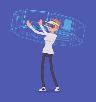 Mujer vr e interfaz virtual