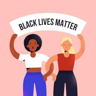 Mujeres afroamericanas y caucásicas protestando, sosteniendo una pancarta, ilustración de dibujos animados
