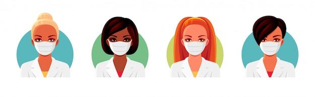 Mujeres afroamericanas y europeas en uniforme médico blanco y mascarillas. conjunto de avatares de doctora o enfermera.