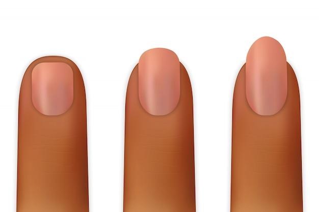 Mujeres uñas aisladas sobre fondo blanco ilustración vectorial