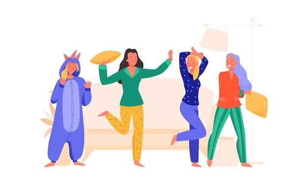 Mujeres alegres divirtiéndose en la fiesta de pijamas en casa ilustración plana