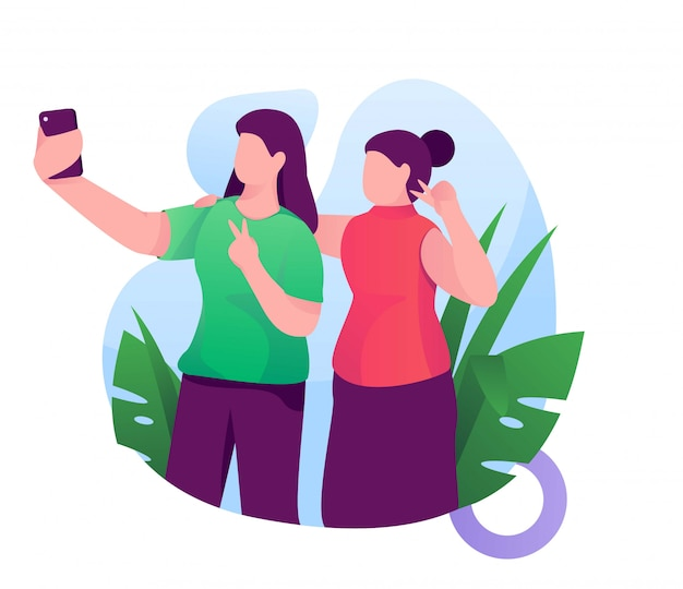 Mujeres y amigos obtienen selfie ilustración plana
