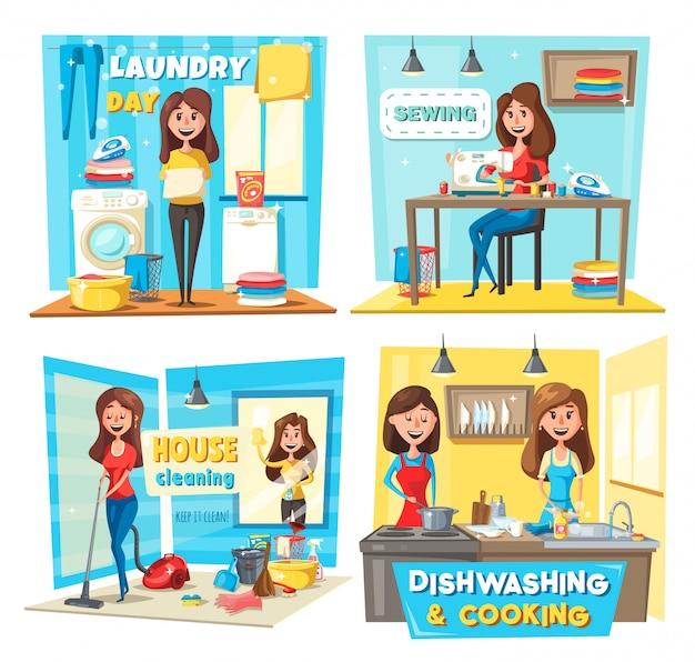 Mujeres aspirando, lavando ventanas, lavando ropa