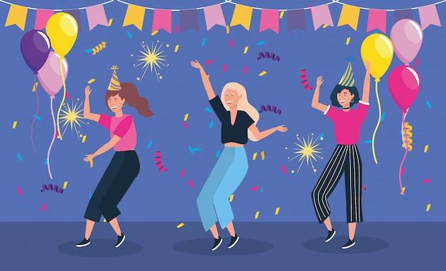 Mujeres bailando en fiesta y globos.