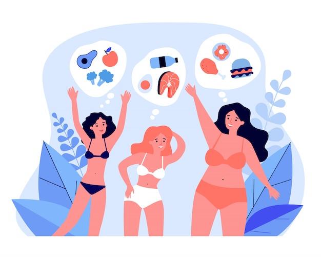 Mujeres bastante jóvenes en bikini con una dieta diferente