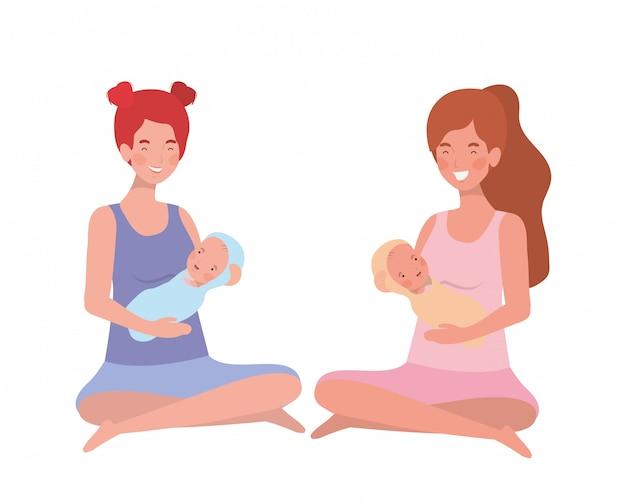 Mujeres con un bebé recién nacido en sus brazos.