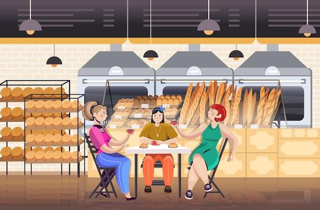 Mujeres bebiendo café en panadería amigos discutiendo durante el desayuno restaurante interior ilustración vectorial horizontal de longitud completa