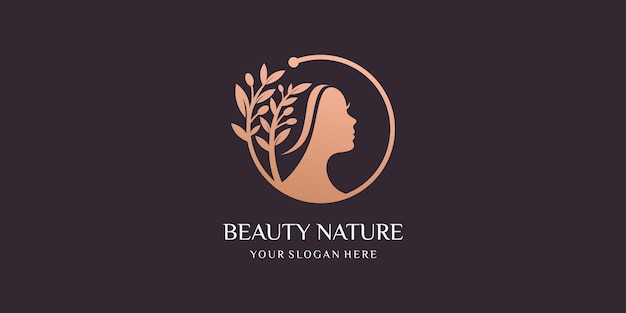 Mujeres de belleza con combinación de mujeres y logotipo de diseño oliva. Vector Premium