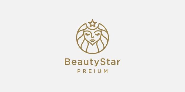 Mujeres de belleza con plantilla de diseño de logotipo de estilo de arte lineal