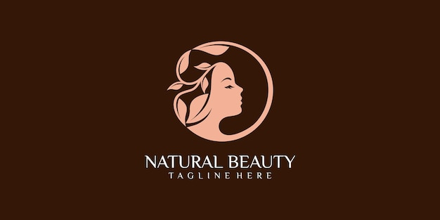 Mujeres de belleza para salón con diseño de logotipo de estilo moderno