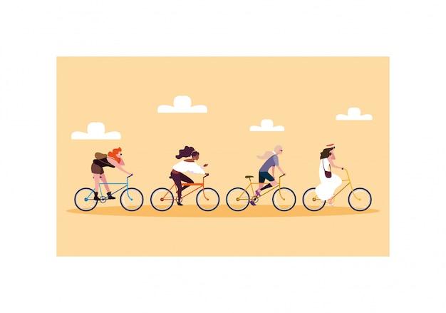 Mujeres con bicicleta, mujeres con estilo de vida saludable.