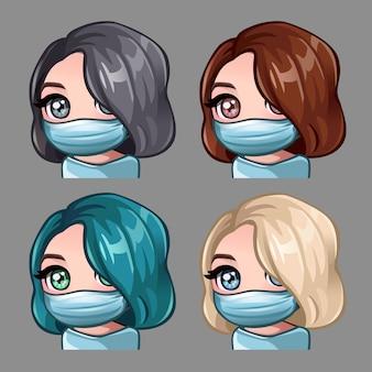 Mujeres con cabello corto en mascarilla médica