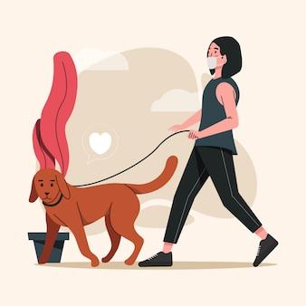Mujeres caminando con perro