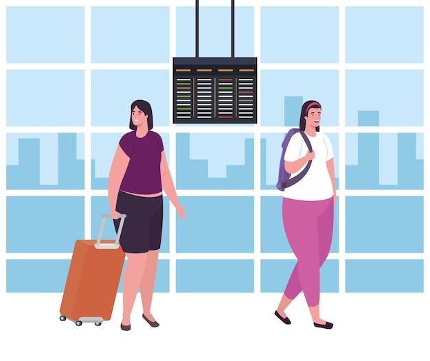 Mujeres caminando en la terminal del aeropuerto, pasajero en la terminal del aeropuerto con equipajes