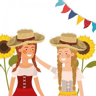 Mujeres campesinas hablando con sombrero de paja