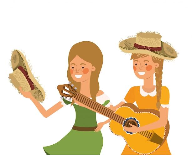 Mujeres campesinas con instrumentos musicales.