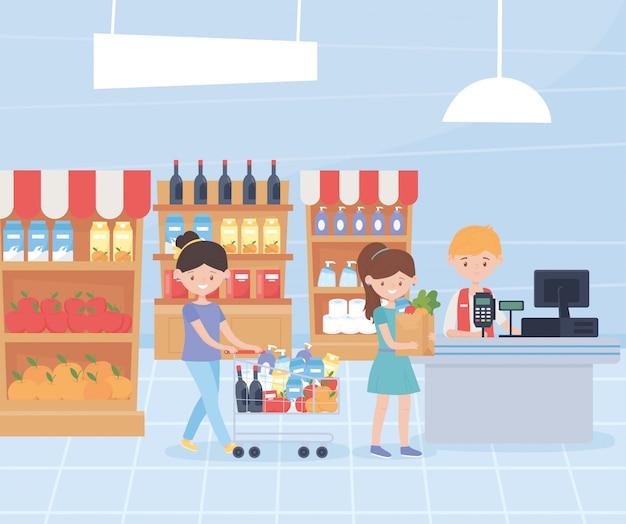 Mujeres con carro de compra y bolso y vendedor hombre