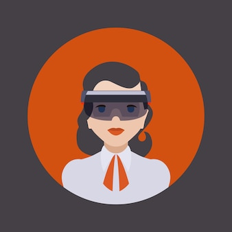 Mujeres en el casco de realidad virtual.