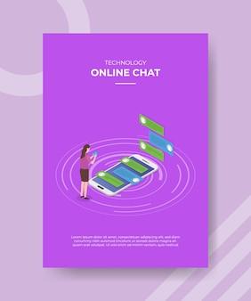 Mujeres de chat en línea de tecnología de pie frente a chat de burbujas de teléfono inteligente en la pantalla para folleto de plantilla