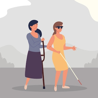 Mujeres ciegas y amputadas