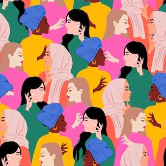 Mujeres coloridas sin fisuras de diferentes razas patrón de empoderamiento. día internacional de la mujer. diseño plano.