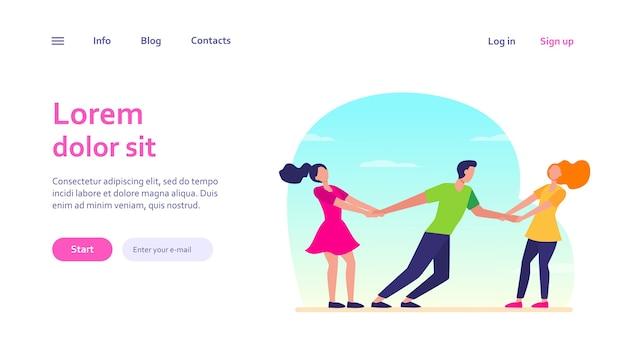 Mujeres compitiendo por novio. chicas tirando de los brazos del chico. concepto de competencia, amor, envidia para el diseño de sitios web o páginas web de destino