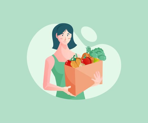 Mujeres comprando verduras frescas