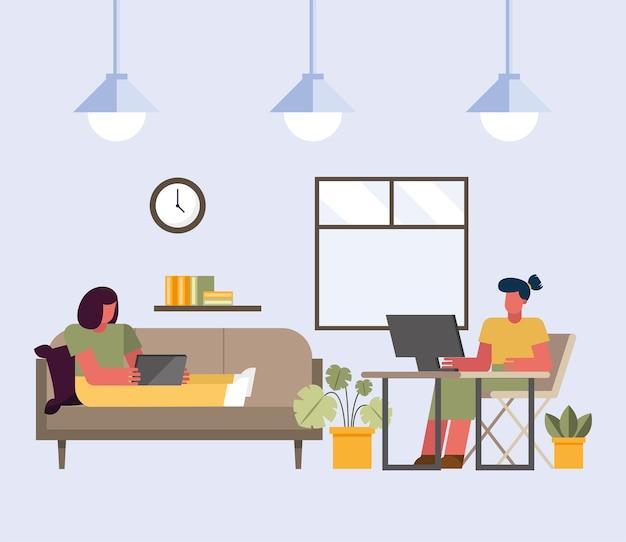 Mujeres con computadora portátil y computadora trabajando desde el diseño del hogar del tema del teletrabajo ilustración vectorial