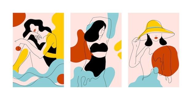 Mujeres en concepto de estilo de arte de línea elegante